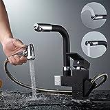 Auralum Schwarz beschichtet Wasserhahn Armatur Spültischarmatur Mischbatterie mit ausziehbarer Brause für Küche