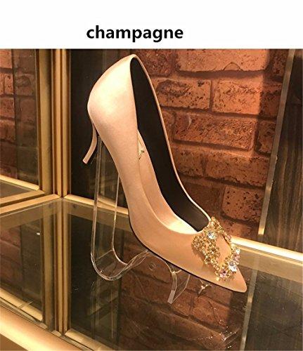 HXVU56546 Autunno Donne Nuove Scarpe Wild Water Partito Di Perforazione Per La Alta Scarpe Tacco Punta Fine Con Scarpe Matrimonio Scarpe Singolo champagne