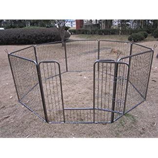 BUNNY BUSINESS Heavy Duty Puppy Play Pen/ Rabbit Enclosure 8 Panels, Medium, Gunmetal Grey 51e 2By20EKmL
