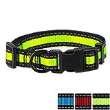 Mile High Life Nacht Reflektierende 2 Streifen 3 Colorways Nylon Hundehalsband (_x000D_neongrün / Schwarz, Großer Hals 41cm - 53cm - 24 KG)