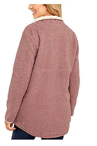 YACUN Le Donne A Maniche Lunghe Casual Bottoni Tasche Felpa Pullover Pink