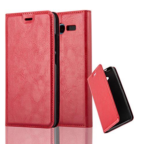 Cadorabo Hülle für ZTE Blade L3 - Hülle in Apfel ROT – Handyhülle mit Magnetverschluss, Standfunktion und Kartenfach - Case Cover Schutzhülle Etui Tasche Book Klapp Style