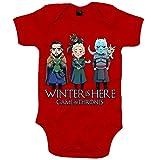 Body bebé Juego de Tronos Jon Snow Caminante Blanco Khaleesi y dragones ilustración - Rojo, 6-12 meses