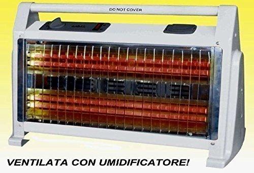 Stufa elettrica stufetta AL QUARZO 4 elementi 800/1600W TURBO con UMIDIFICATORE