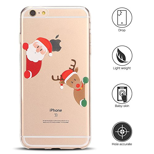 Cover iPhone 6s plus Custodia iPhone 6 plus Silicone Natale Anfire Morbido Flessibile TPU Gel Case Cover per Apple iPhone 6 plus/6s plus (5.5 Pollici) Ultra Sottile Clear Trasparente Copertura Antiurt Babbo Natale e Orso