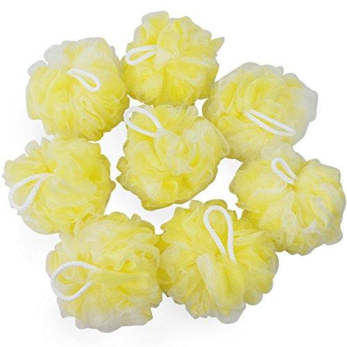 Tstorage Interior Amarillo Exterior Blanco Esponjas de baño Esponja de Malla Pufs de Ducha Grande, 8 Paquetes