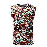DAY.LIN Débardeur Hommes Gilets Casual Fitness 3D Camouflage À Capuche Gilet D'été sans Manche Singlet sous-Vêtements Top Sport T-Shirt Blouse(Large,Rouge)