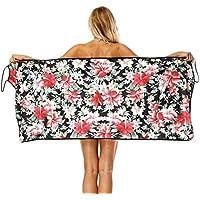 CHIYEEE Rectángulo Toalla de Playa Cuello en v Camisa Honda Borla Playa Esteras de Yoga Bufanda