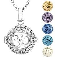 JOVIVI Aromatherapie Ätherische Öle Diffusor Halskette Hollow Sanskrit OM Symbol Locket Anhänger mit 5x Lavastein preisvergleich bei billige-tabletten.eu