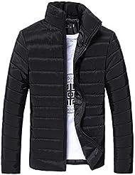 Chaqueta De Invierno Hombre Amlaiworld Chaqueta de Pluma Hombres Abrigo de Invierno Abrigo Parka Deportiva Chaquetas Outwear (XL, Negro)