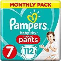 Pampers Baby-Dry Nappy Pants Size 7, 112 Nappy Pants, Monthly Saving Pack, Easy-On with Air Channels for Up to 12 Hours of Breathable Dryness, 17+ kg
