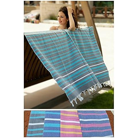 Fouta   Toalla hammam 'Ibiza XXL'   toalla de baño liviana   Turquesa con rajas de color gris  150 x 210 cm  100 % algodón de excelente calidad   diseño exclusivo de