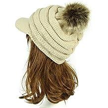 IBLUELOVER Gorro de Lana para Mujer Gorro Plano Sombrero Visera Gorros de  Invierno Sombreros con pompón b05d1d70cbe