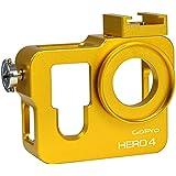 MENGS® carcasa de aluminio del marco protectora de la caja + 37mm Filtro UV para lente para GoPro Hero 3 –Dorado