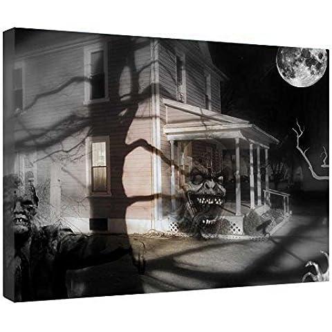 LeeQueen Las Impresiones Sobre Lona Arte de la Pared - Spooky Ghostly Casa Encantada de Miedo - Antecedentes Consejo de Madera Estirada Abrigo de la Lona Listo Para Colgar Para el Hogar y la Decoración de la Oficina - 24