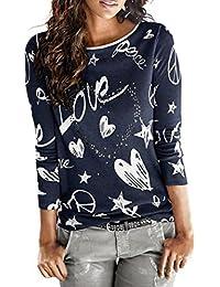 MujerManga larga Carta Impresión Camisa, WINWINTOM Casual Blusa Suelto Tops
