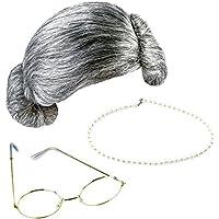 Keriber 3 Stücke Grau Großmutter Perücke Oma Brille Künstliche Perle Halskette Schick Kleid Schmuck