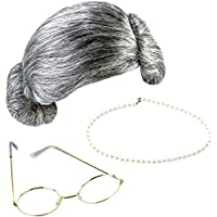 Keriber 3 Pcs Gris Grand-Mère Perruque Grandma Masques Lunettes de Perles Artificielles Chic Robe Bijoux