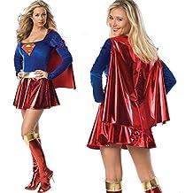 HANAHANA - Disfraz de Halloween Supergirl para mujer (8349)