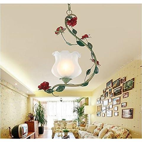 Ancernow E27 caldo creativo moda lampade a sospensione Idilliaco romantica rosa lanterna retrò 35 * H50CM (filo pendente regolabile) Lampadari per soggiorno, camera da letto, bar, caffetteria, ristorante, corridoio, camera