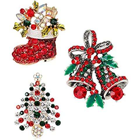interestiny Set di 3bellissimi Jingle Bells, Albero di Natale regalo di natale spilla
