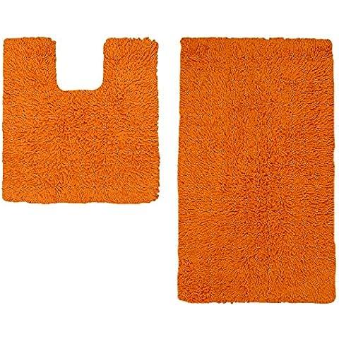 Just Contempo - Set di tappetini da bagno, comprensivo di scendibagno e tappetino per WC, 100% in cotone lavabile, 100% Cotone, set tappetini bagno - mandarino arancione (in cotone non slip, 50 x 80 cm / 50 x 50cm