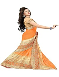 Sunshine Fashion Orange Color Chiffon , Duster Fabric Heavy Embroidery & StoneWork Sarees ( Sarees For Women Party...