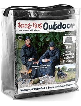 Snug Rug al aire libre impermeable manta con mangas, negro y azul, 168x 137cm