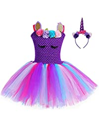 FONLAM Vestido de Unicornio para Niña Bebé Disfraz de Fiesta Princesa Tutú Vestido Infantil Flores Carnaval Niña