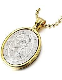 Medalla Milagrosa Virgen María Marry, Collar con Colgante de Hombre de Mujer, Acero Inoxidable, Bola Cadena 60CM