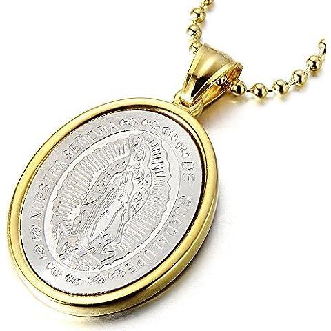 Medalla Milagrosa Virgen María Marry, Collar con Colgante de Hombre de Mujer, Acero Inoxidable, Bola Cadena