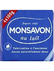 Monsavon - Savon de soin au lait - Les 4 savons de 100g - (pour la quantité plus que 1 nous vous remboursons le...