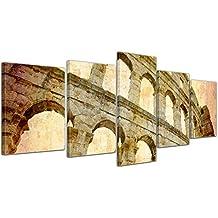 """Bilderdepot24 Cuadros en Lienzo """"Coliseo en Pula - Croacia"""""""" - 200x80 cm 5 piezas - Enmarcado listo Bastidor imagen. directamente desde el fabricante"""