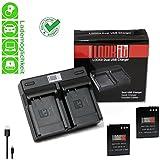 LOOkit Dual Chargeur + 2x LOOKit Premium Batterie EN-EL12 /1050mAh - pour Nikon A900, Nikon S9900, Nikon AW130, Nikon AW120, P340, Nikon S9700 , Nikon S9600, Nikon P330, Nikon AW110, S31, S9500, S9400, S9300 S31 S800c S9100 S8000 S8100 S8200 P300 P310 P330 S6150 S6200 S1200pj