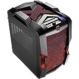 Aerocool STRIKEXCUBERD - Caja gaming para PC (ATX, ventilador con iluminación LED frontal 20 cm y trasero 14 cm, 4 slots expansión, USB 3.0, audio HD, ventana transparente, contro ventiladores), rojo