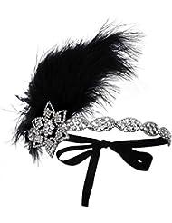 BABEYOND Schwarzes Feder-Kopfstück-Kristallstirnbänder für Frauen Strauß-Feder-Stirnband 1920s