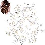 Ouinne Horquillas de Perlas y Diamantes de Imitación Elegantes para Accesorios de Pelo Pinza para Cabellopara Bodas Fiestas (50CM)