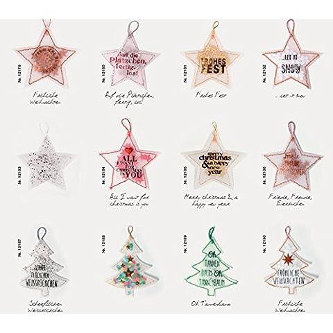 Confeti estrellas y árboles árbol de Navidad Navidad Decoración Regalo colgante–Juego de 12Good Old Friends