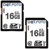 Dot.Foto 16Gb SDHC Alta Velocidad 80MB/s Clase 10 UHS-1 Tarjeta de Memoria (Pack de 2) para Fujifilm FinePix A/AV/AX cámaras [Vea compatibilidad en la descripción]