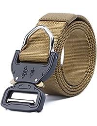 Cinturón táctico para hombres, Cinturón de nylon ajustable con hebilla de aleación de zinc, Cinturón militar de 1.5in con hebilla