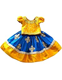 White Button Baby Girl's Mustard N Blue Mirror Embroidery Cotton Silk Readymade Wedding Wear Lehenga Choli Dress