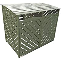 5060495610530 Double Wooden Wheelie Bin Storage Sage Green Garden Cover Recycling Outdoor Lifting Lids lockable