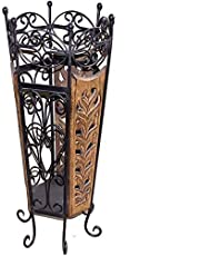 Craft Kings Decorative Wooden & Wrought Iron Umbrella Stand Cum Planter for Home Decor etc. 9.5x11x21-inches, Brown