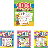 1001 Activities Book + 365 Science Activity + 365 English Activity + 365 Math Activity (Set of 4 Books)