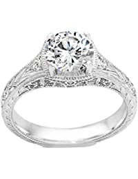 Silvernshine 1.44 Carat White CZ Diamond 18k White Gold Over Wedding Engagement Ring