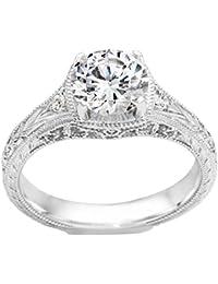 Silvernshine 1.44 Carat White CZ Diamond 18k White Gold Over Wedding Engagement Ring