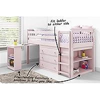 Windermere Cama de Cabina Rosa + Almacenamiento + Escritorio – Escalera se Puede Fijar a Cualquier Lado