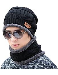 26257597a112 Supstar Chauffant Bonnet Tricot avec Écharpe de Doublure Polaire, Hiver  Chapeau Beanie pour Homme