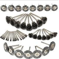 floratek 45pcs Juego de brochas de alambre de acero KIT–Rueda–Cubilete de cepillos Polaco herramienta de accesorios con vástago para taladro eléctrico para Dremel herramienta rotativa