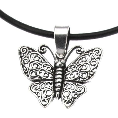 Plata de ley mariposa/Mariposa nocturna de llew mejia colgante de cuerda de cuero